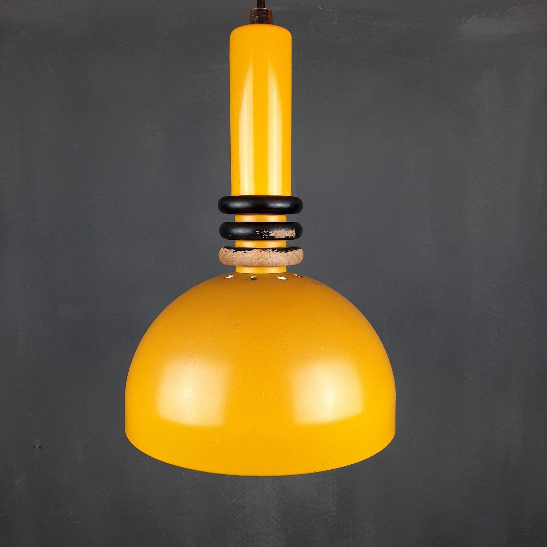 Retro metal pendant lamp Sijaj Hrastnik Yugoslavia 1970s Mid-century lighting Industrial light