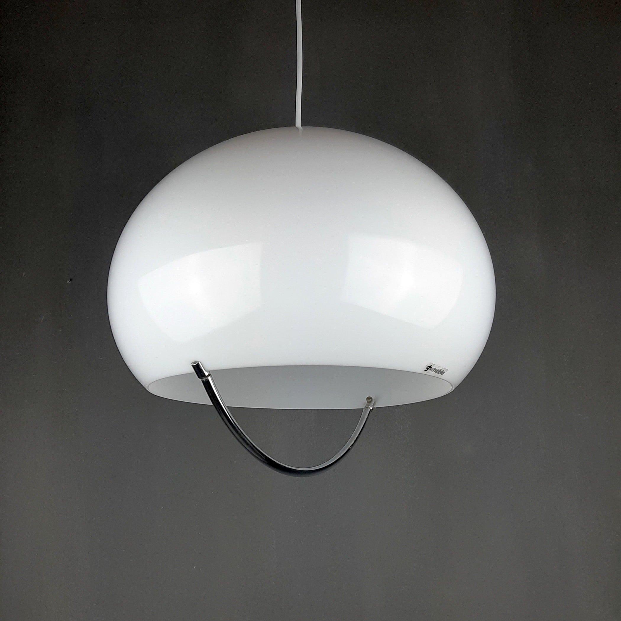 Mid-century White Pendant Lamp Meblo Guzzini 1970s Yugoslavia Italia