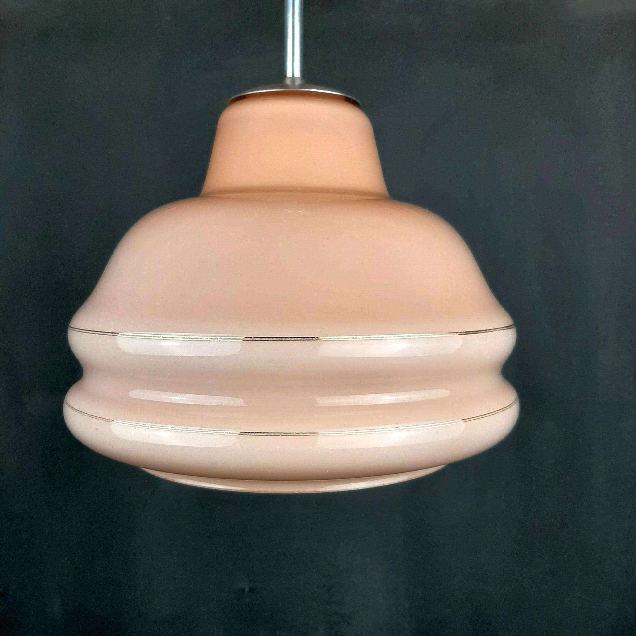 Vintage glass pendant lamp Yugoslavia 1960s