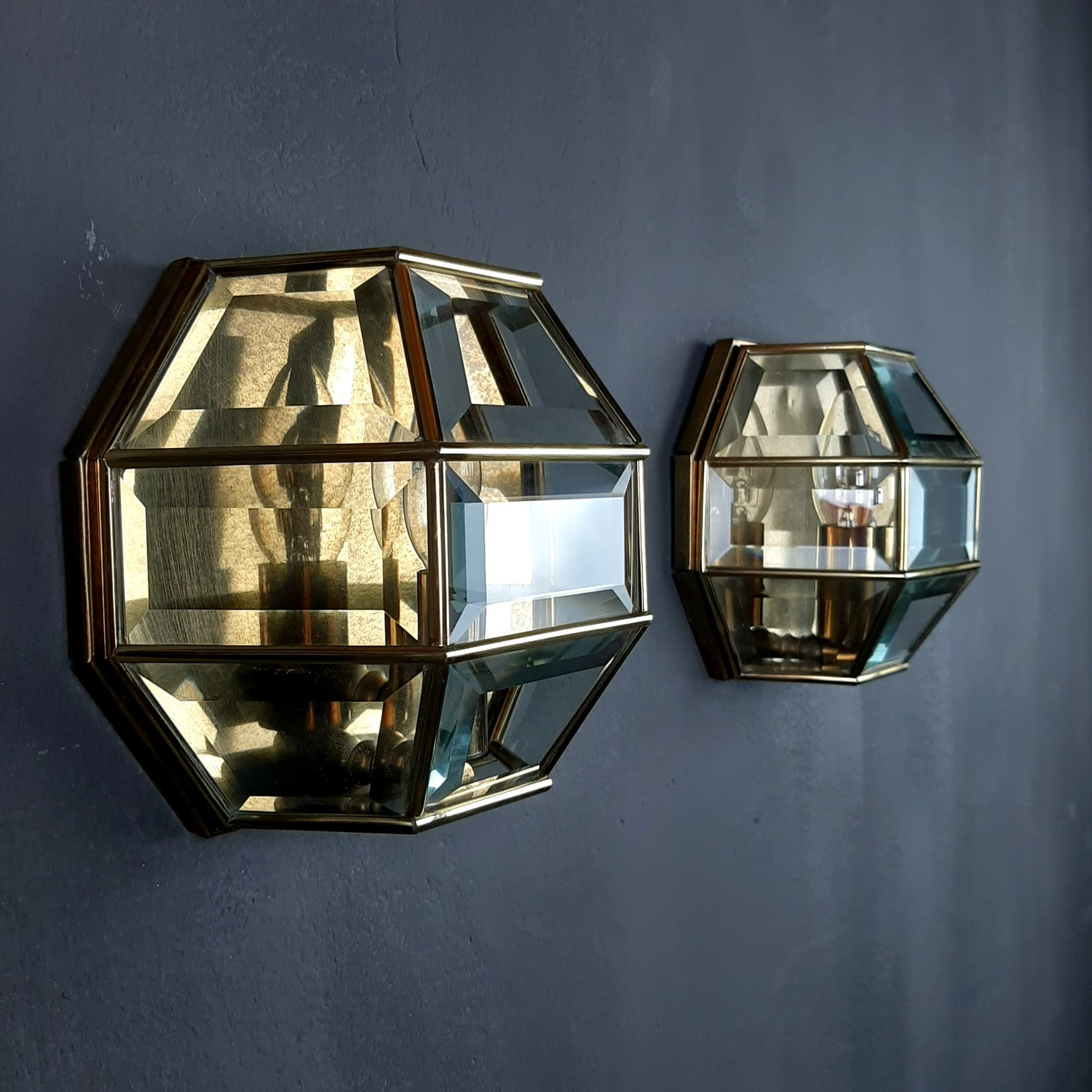 Pair of vintage diamond sconces Italy 1960s Gold brass hex crystal wall lamp