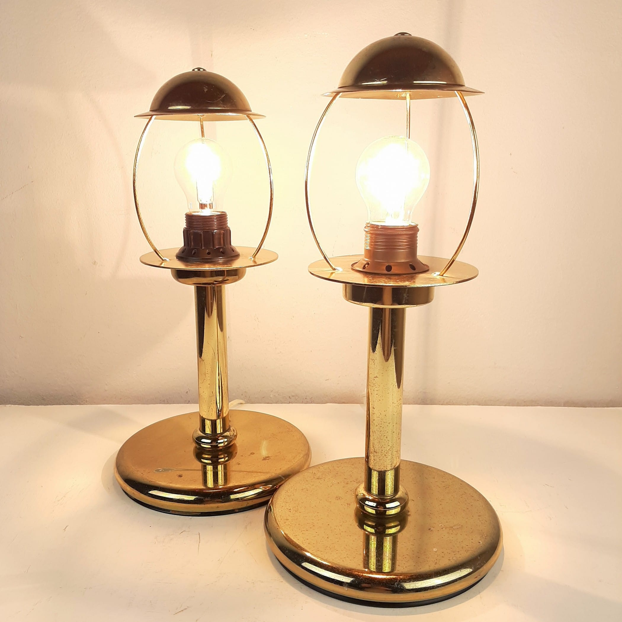 Pair of retro gold metal table lamp Sijaj Hrastnik Yugoslavia 1970s