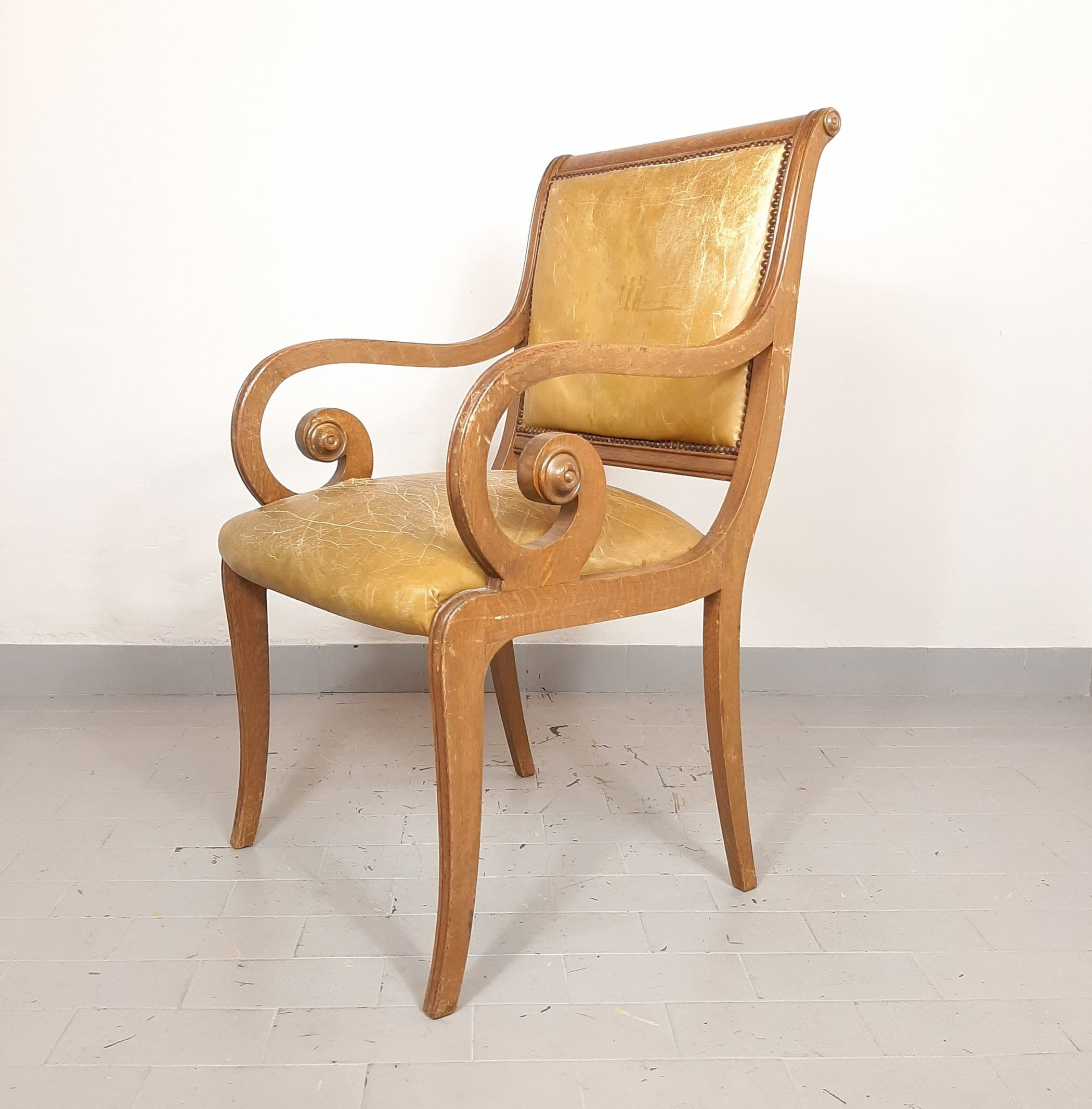 Vintage beautifull dining chair '50s Italy Wood Leather Furniture Italy