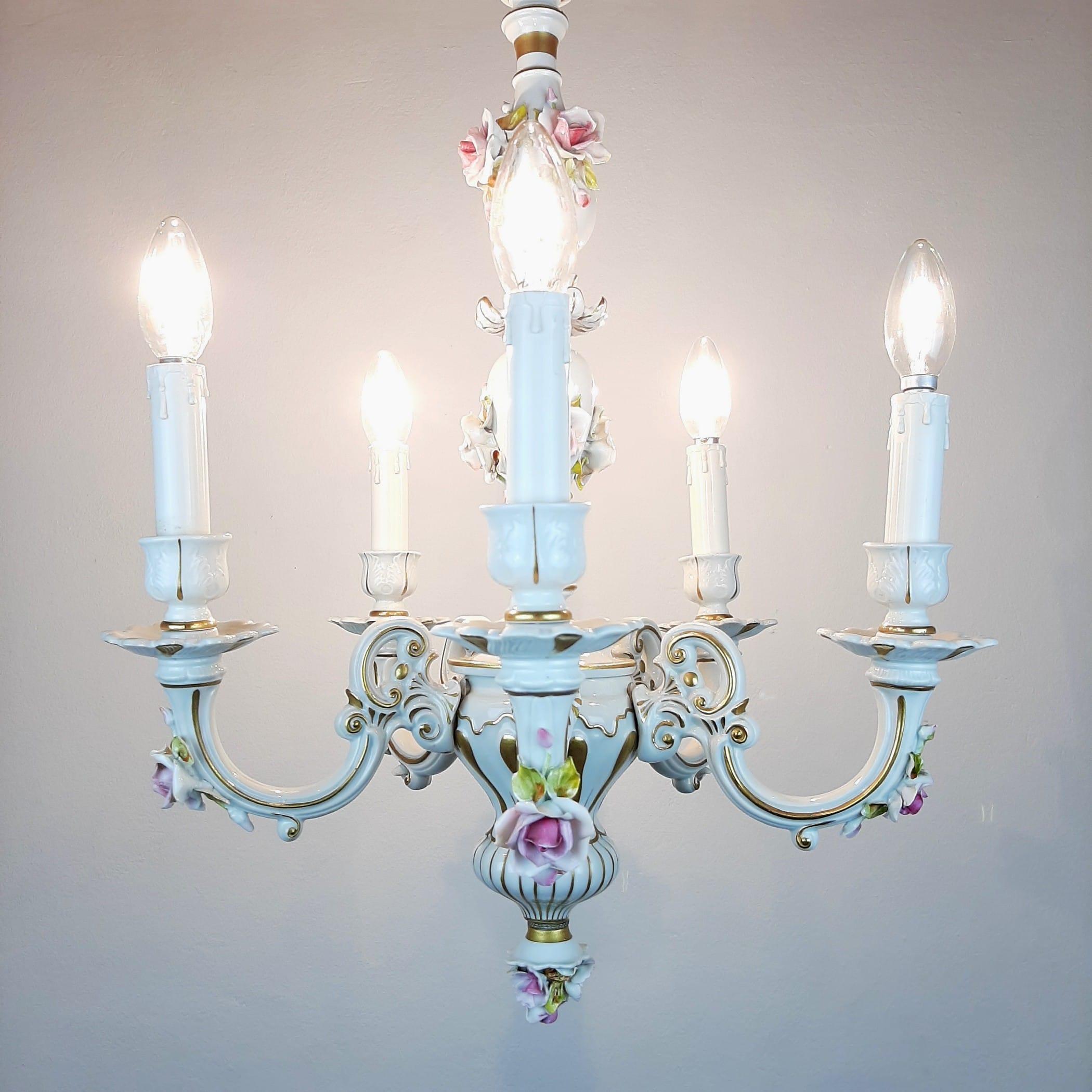Vintage Capodimonte porcelain 5 arm chandlier Italy 1940s Baroque Ceramic Chandelier Shabby chic Flower Porcelain Chandelier
