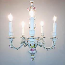 Vintage Capodimonte porcelain 5 arm chandlier Italy 1940s Baroque Ceramic Chandelier Shabby chic Flower Porcelain Chandelier