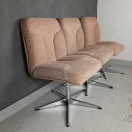 1 of 3 Mid-century desk chair Stol Kamnik Yugoslavia 1970s Vintage dining chair Retro home office Original Textil Swivel chrome metal leg
