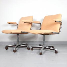 Mid-century office chair Stol Kamnik 1980s Yugoslavia Original Beige Textil Swivel Metal Chrome Leg