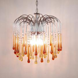 Vintage Murano Glass Drops Chandelier by Paolo Venini '60s Italy Yellow Caramel pendant lamp