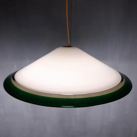 Retro murano glass pendant lamp Italy 1980s Green Yellow White