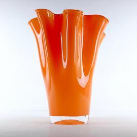 Orange murano glass vase Fazzoletto Italy 1990s