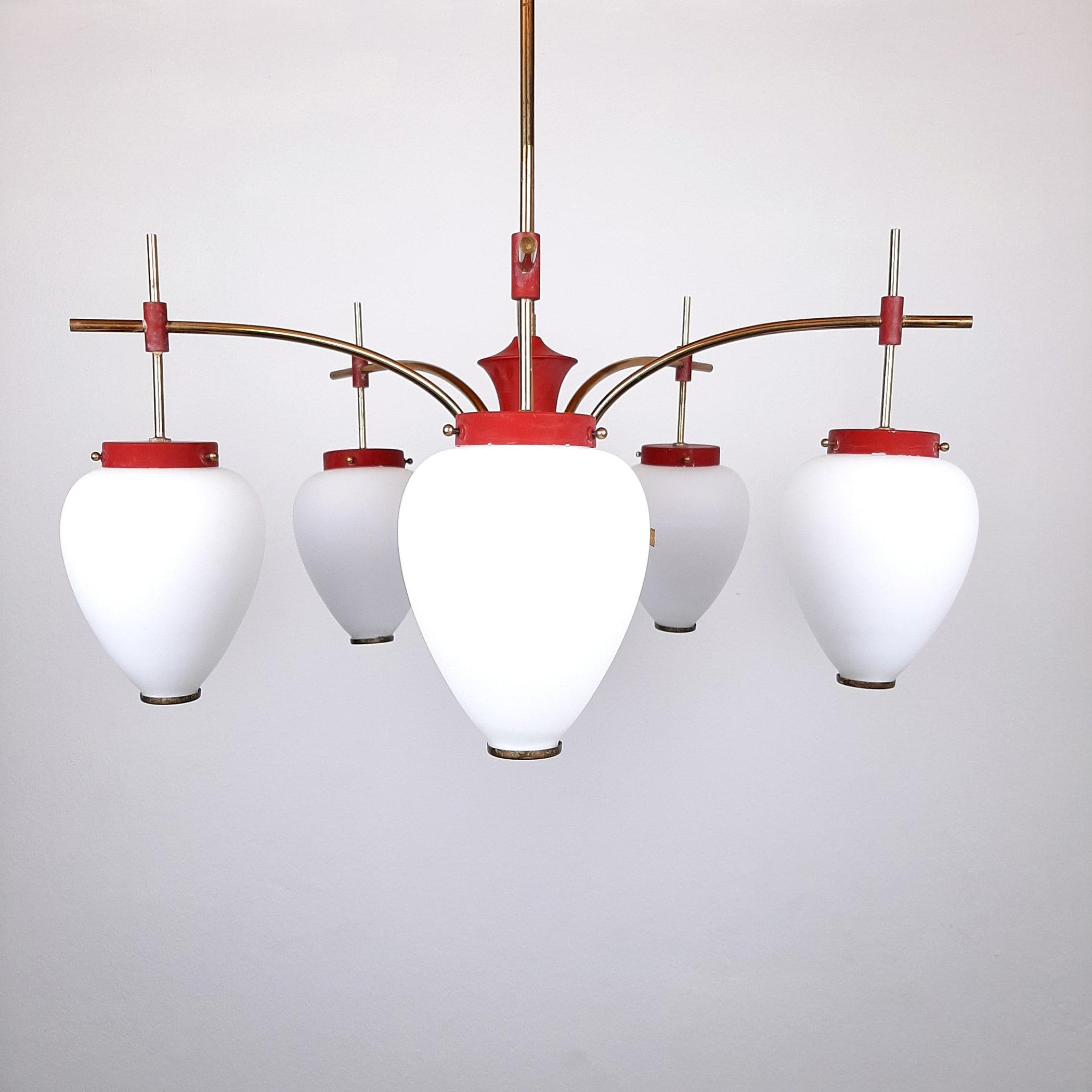 Mid-century red pendant lamp from Stilnovo Italy 1960s Art Deco