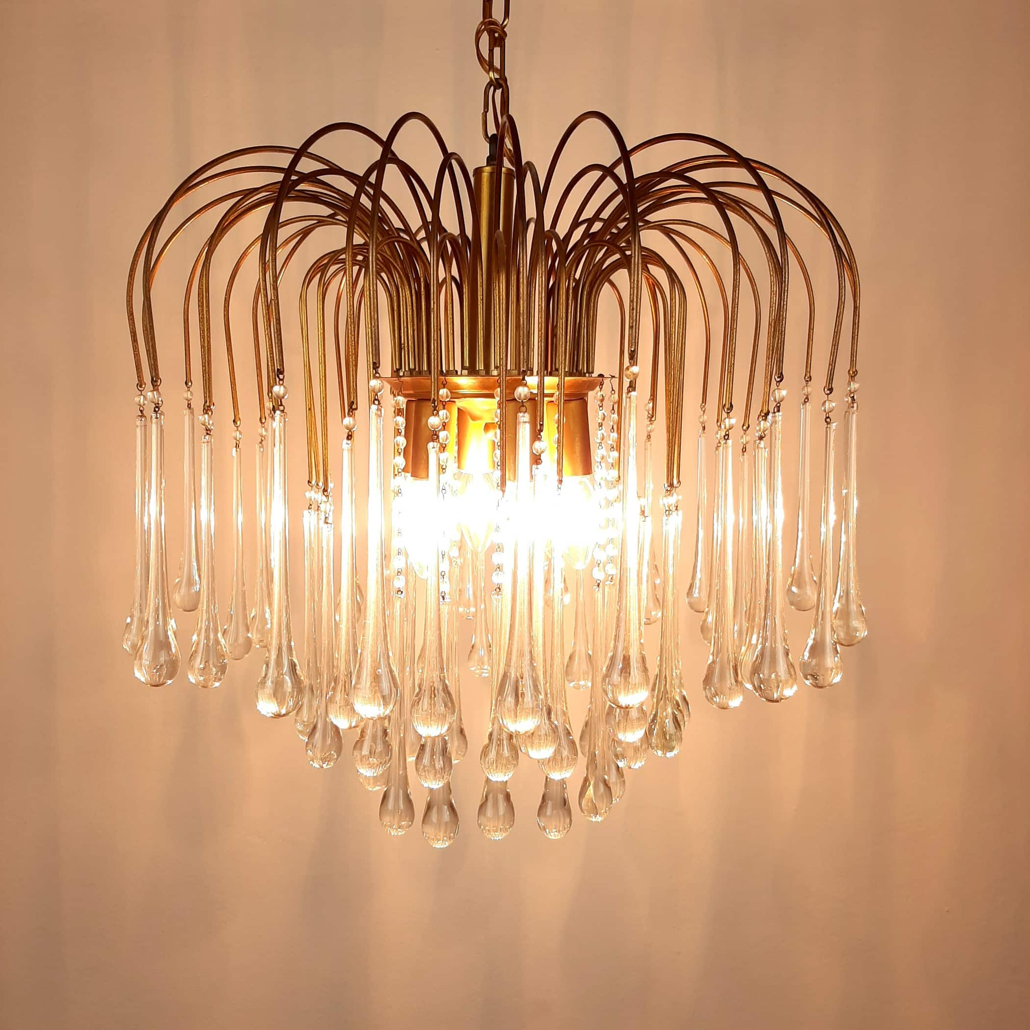 Vintage large Murano glass drops chandelier by Paolo Venini Italy '60s Clear Gold