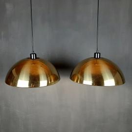 Set of vintage brass pendant lamp Italy 1970s Retro home decor Space age