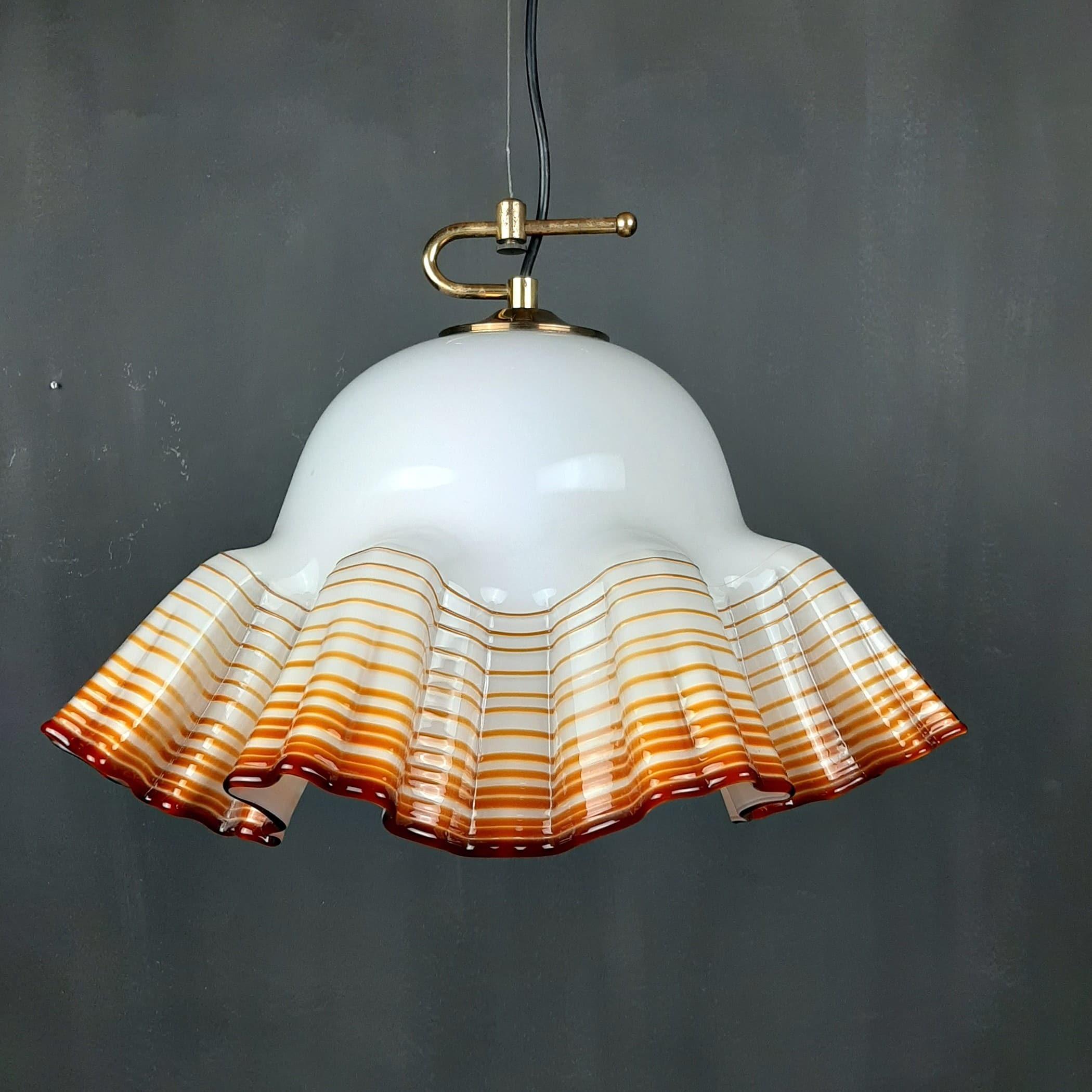 Vintage murano glass pendant lamp De Majo Italy 1970s