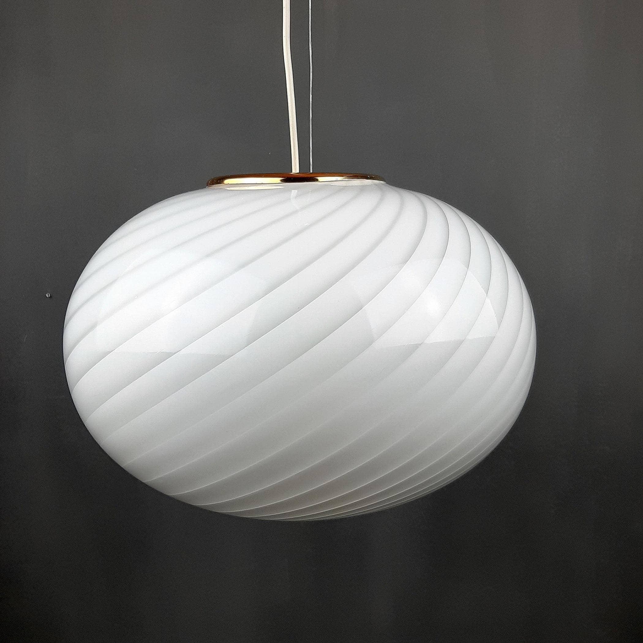 Retro swirl glass pendant lamp Italy 70s
