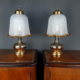 Pair vintage murano glass night lamps Italy 1980s