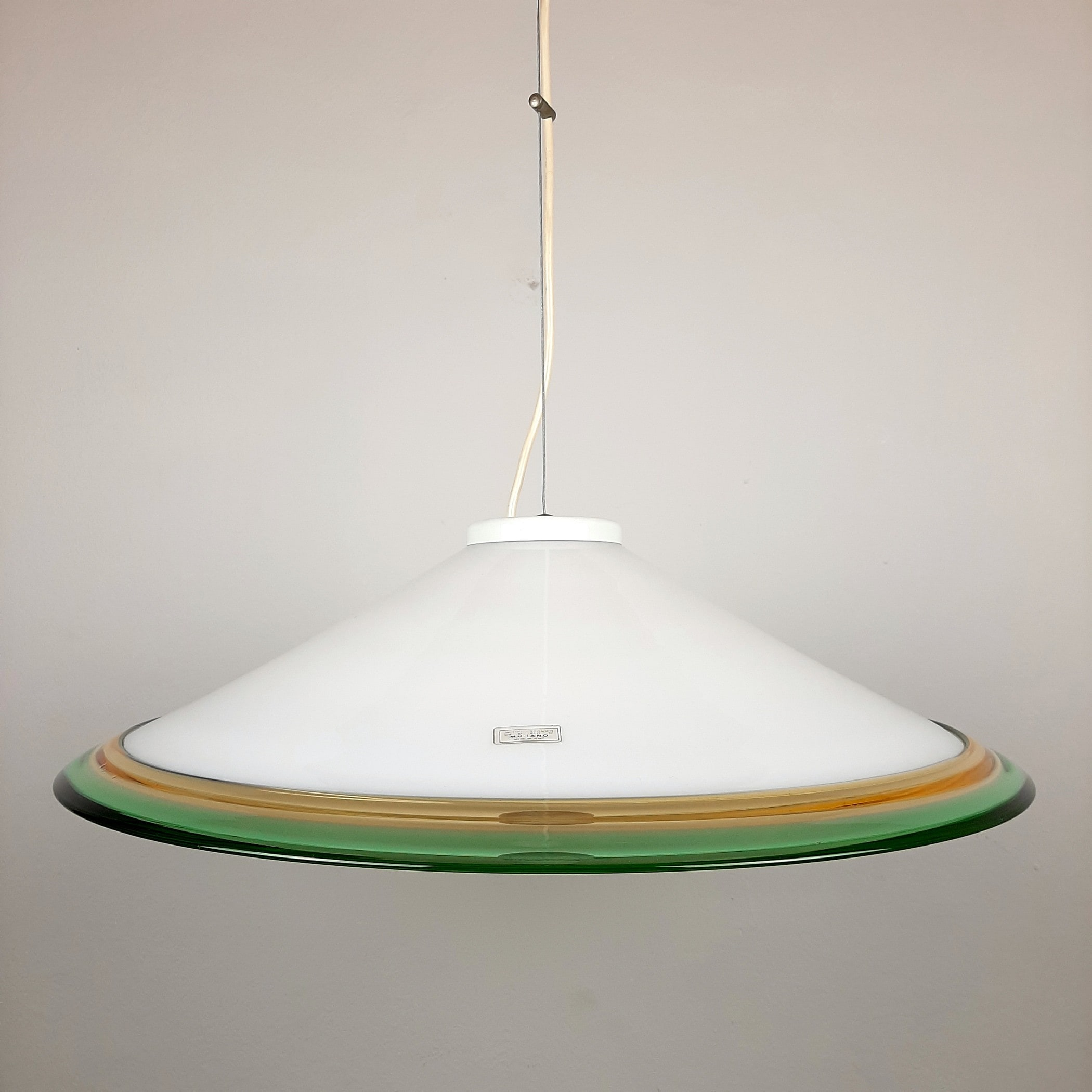 Vintage murano glass pendant lamp Italy 1970s White Green Yellow