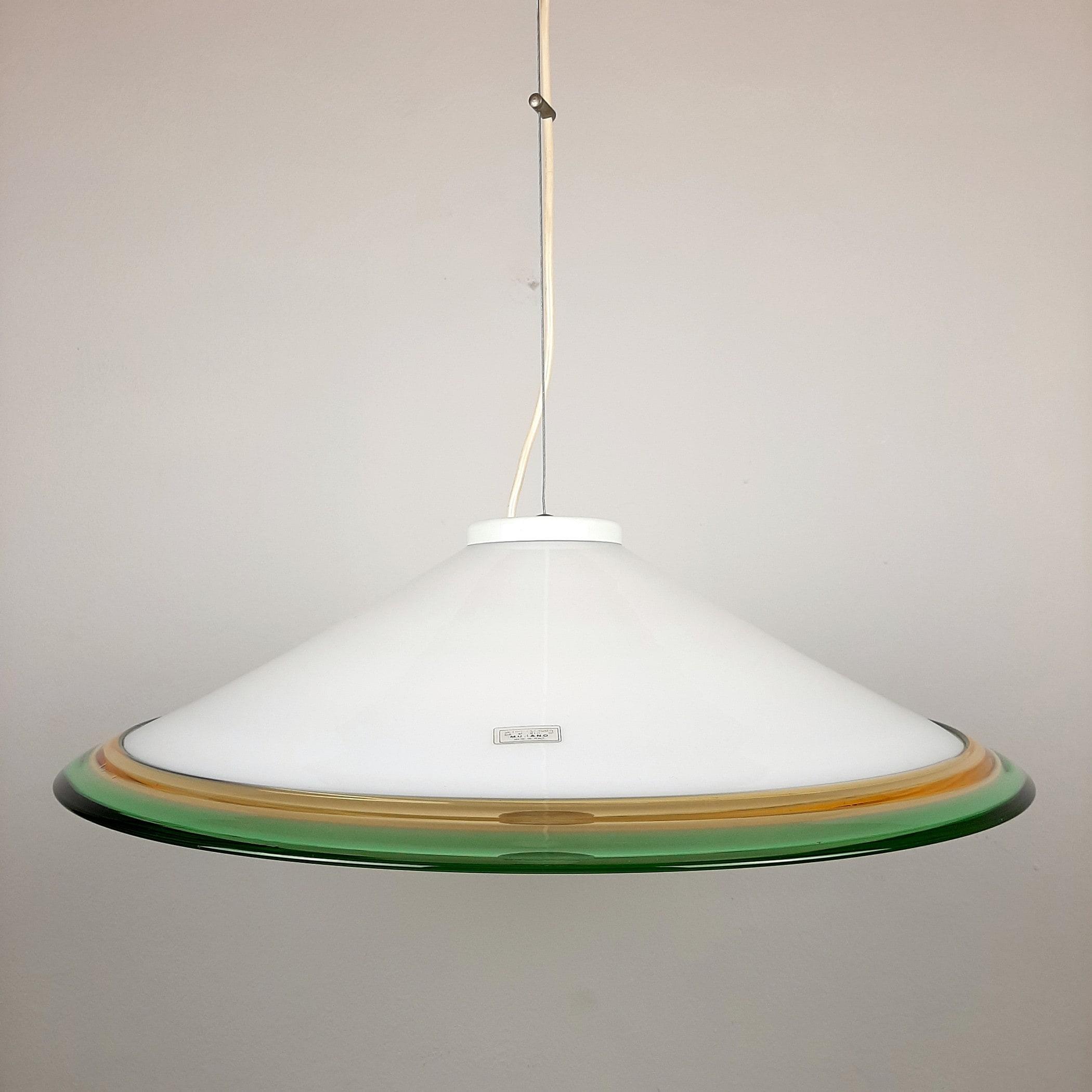 Vintage murano glass pendant lamp Italy 1970s White Green Yellow