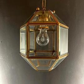 Vintage diamond pendant lamp Italy 1960s Gold brass hex crystal lamp