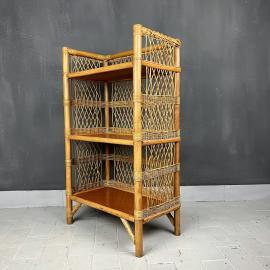 Vinage Rattan shelves Italy 1960s Bamboo Shelves Cane Shelves Bathroom Storage Conservatory Storage