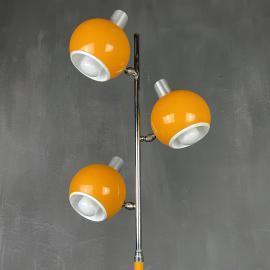 Mid-century yellow eyeball floor lamp italy 1960s space age atomic