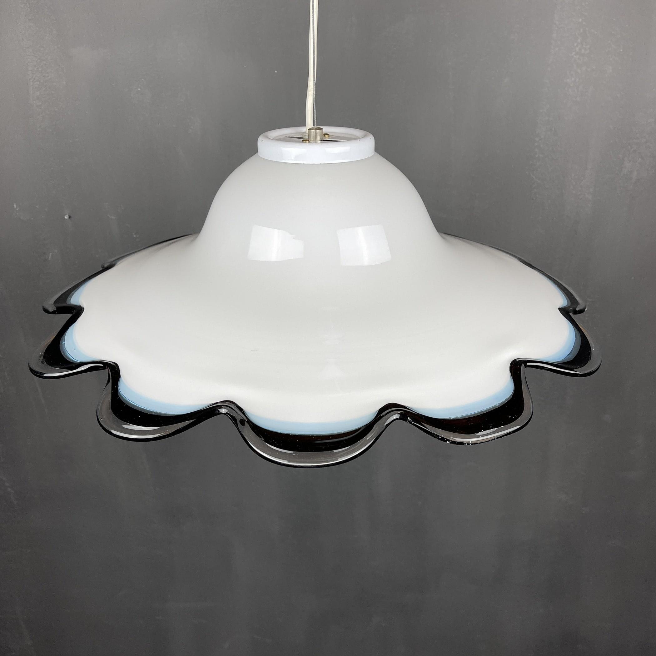 Vintage murano glass flower pendant lamp Italy 1970s White Black