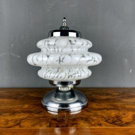 Mid-century white murano glass mushroom table lamp Mazzega Italy 1960s