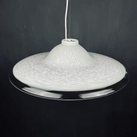 Vintage XL white murano glass pendant lamp Italy 1970s Mid-century lighting XL ceiling lamp