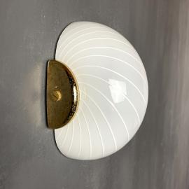 Vintage white swirled murano wall lamp Italy 1970s