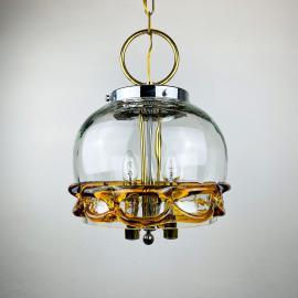 Vintage Murano glass pendant lamp Mundgeblasen Handarbeit 1970s