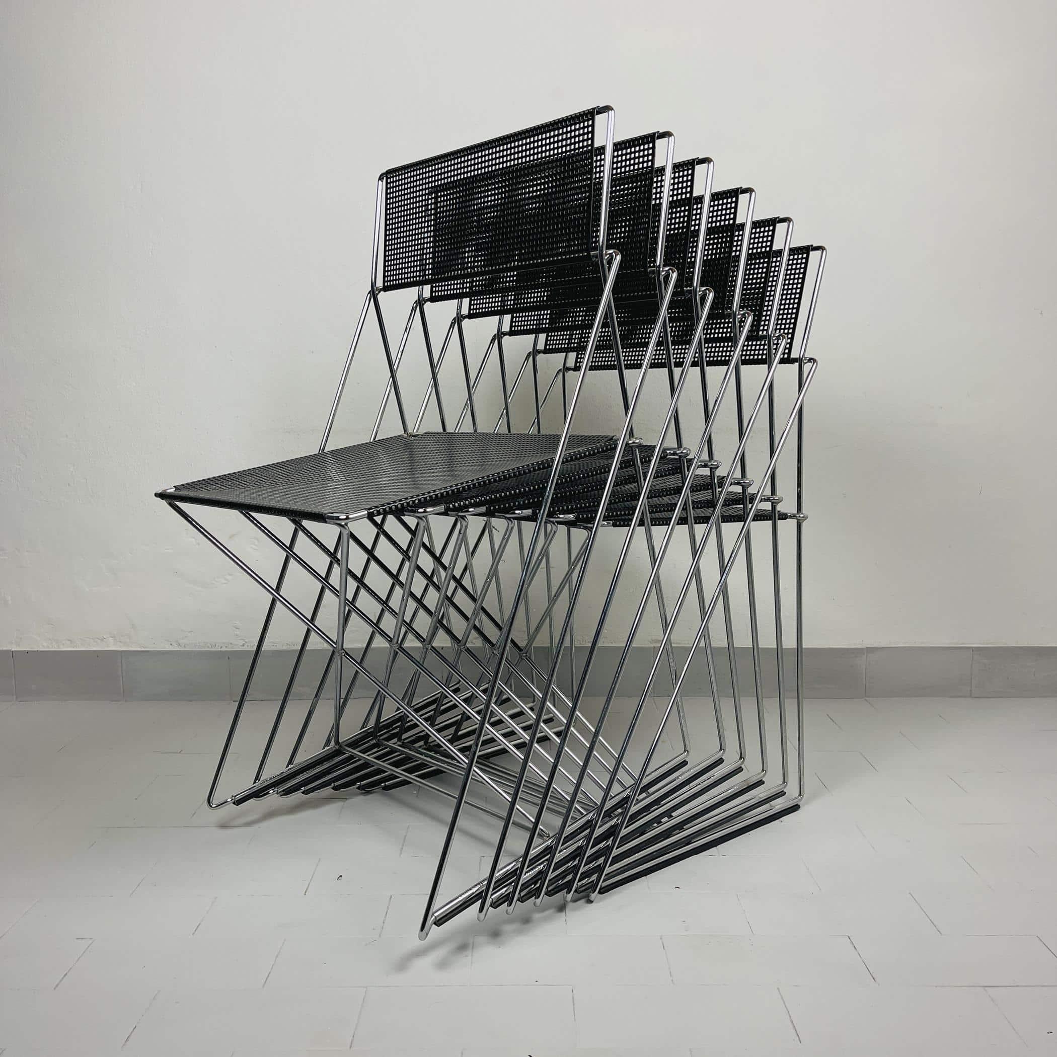 Set of 6 Mid-century stacking metal X-Line Chairs Nuova X line Omli For Magis Italy 1980s Origianl design by Niels Jorgen Haugesen