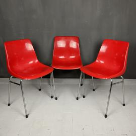 Mid-century red plastic chair Grosfillex France 1980s Set of 3