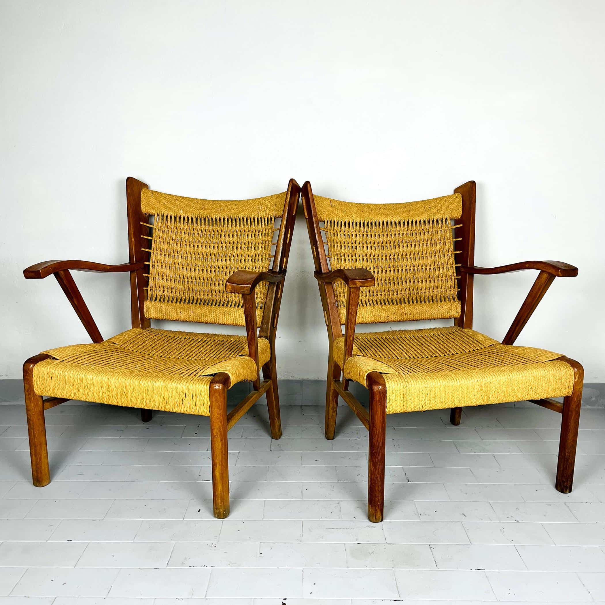 Pair of vintage patio lounge rope chairs Italy 1970s