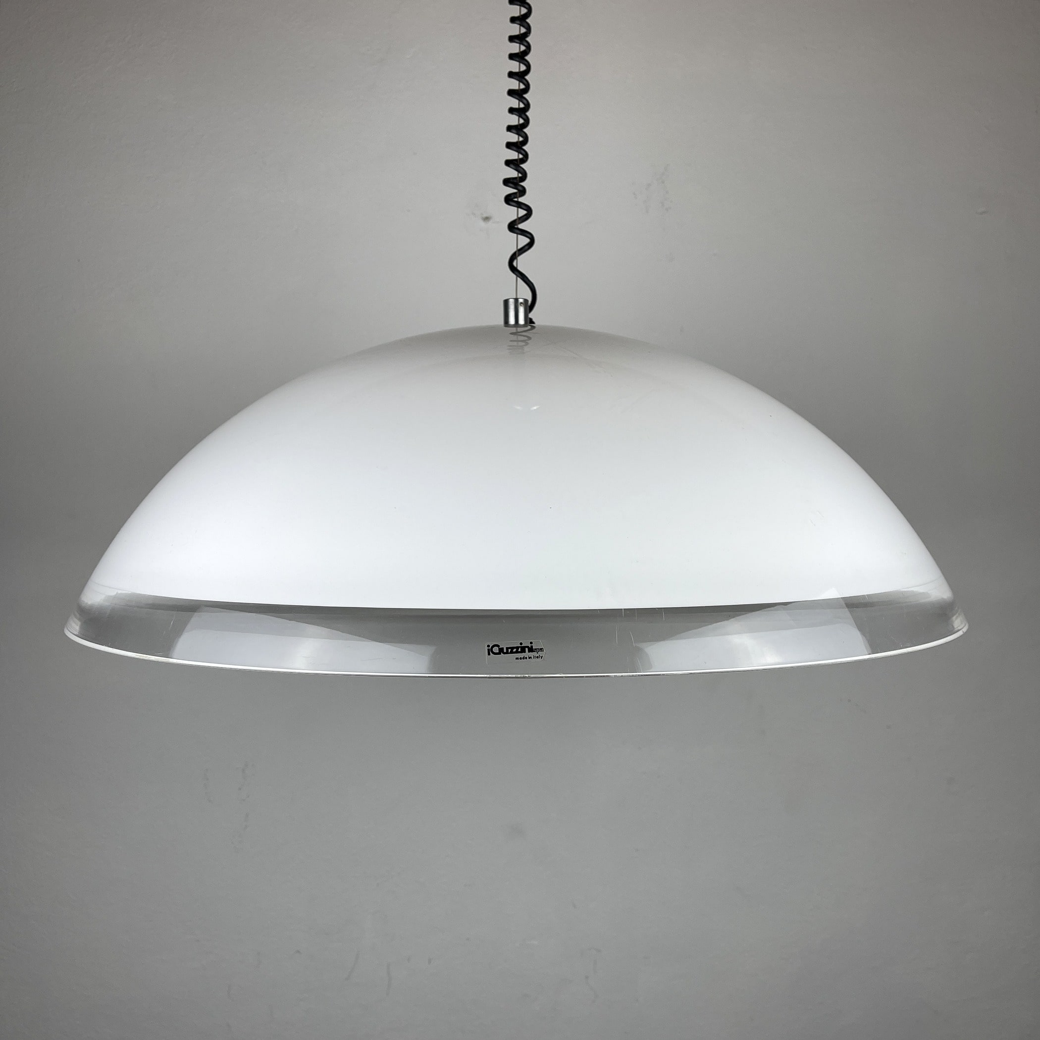 Mid-century XL white plastic pendant lamp by iGuzzini Italy 1980s Vintage Hanging Light Space Age Modern