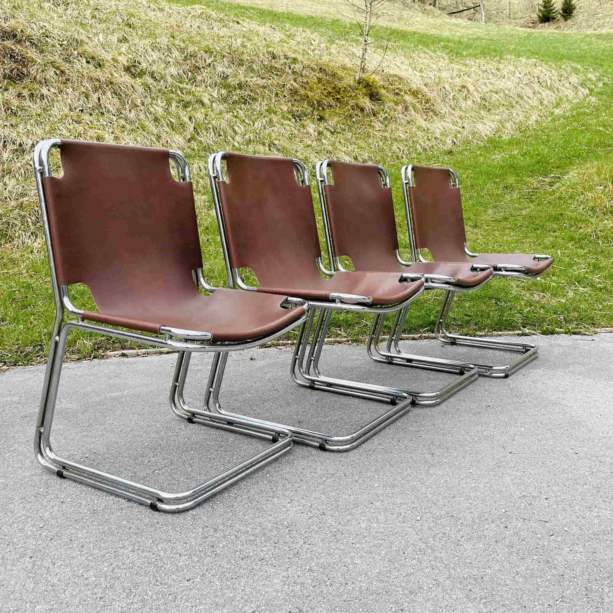 Set of 4 mid-century chrome dining chairs Bologna Italy 1960s Italian modern Gastone Rinaldi Style