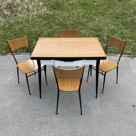 Set of mid-century dining table and 4 chairs by Salvarani Depositato Italy 1950s Set for dining room