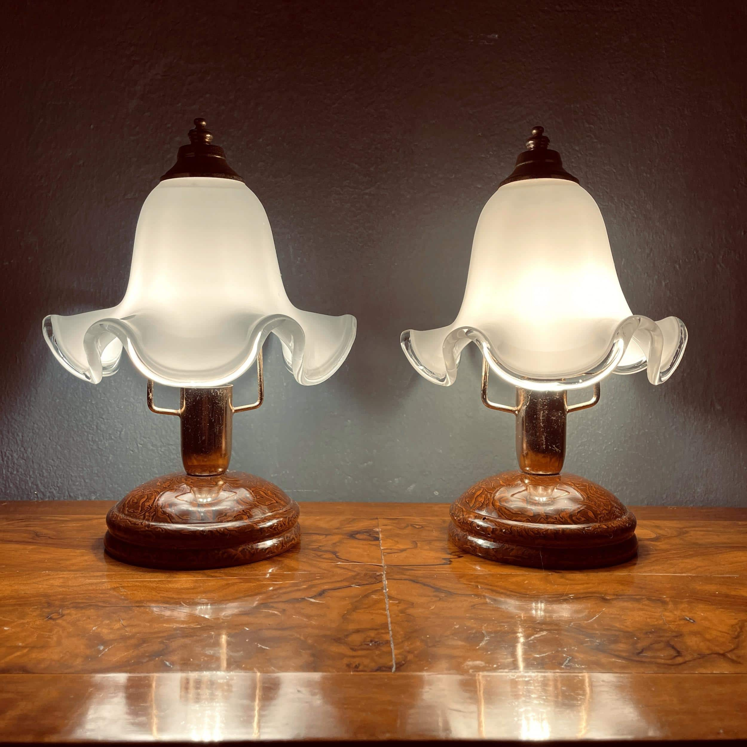 Pair of vintage murano night table lamp Italy 1970s