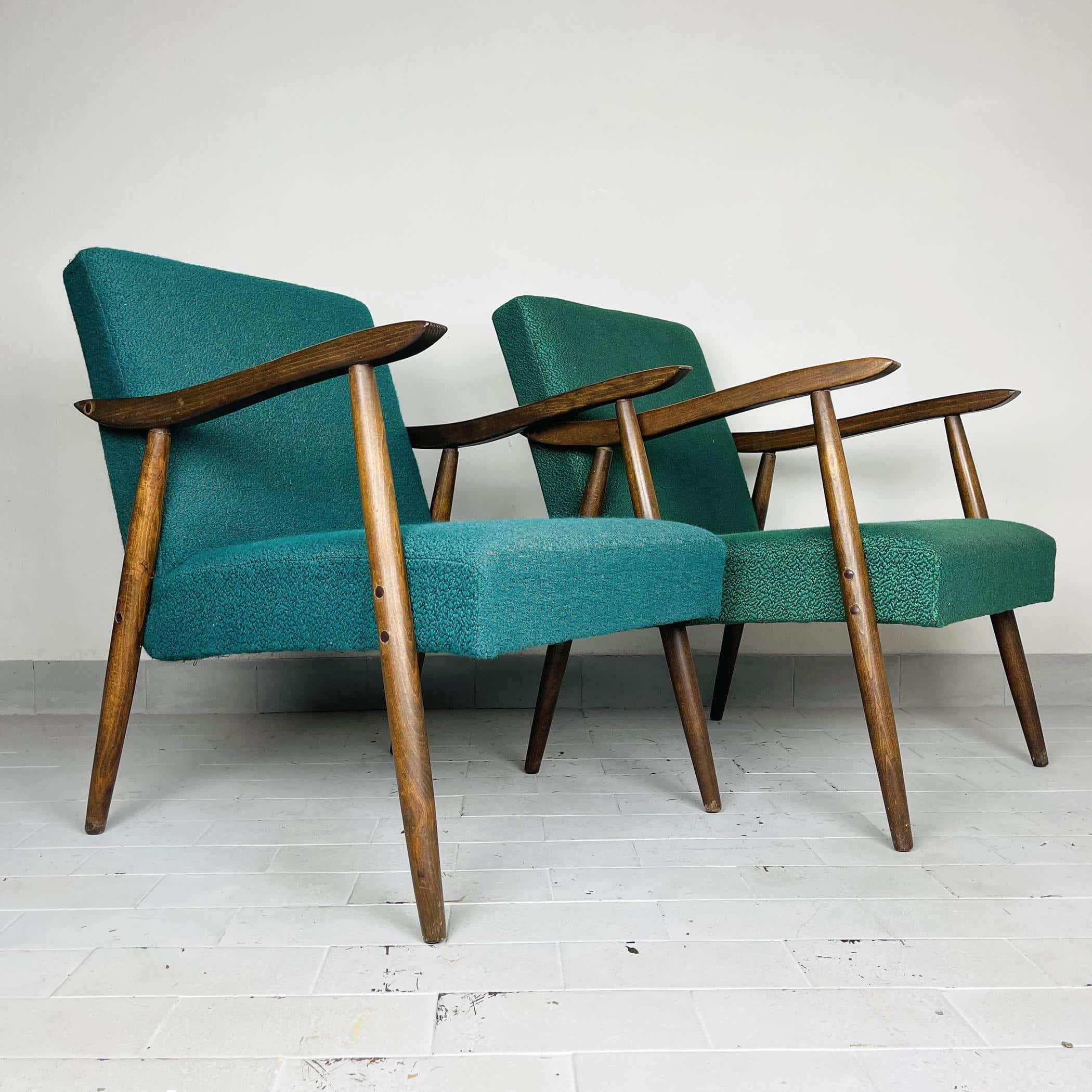"Pair of vintage chairs model ""ROMY"" Yugoslavia 1970s Original green textile MCM furniture Retro home decor"