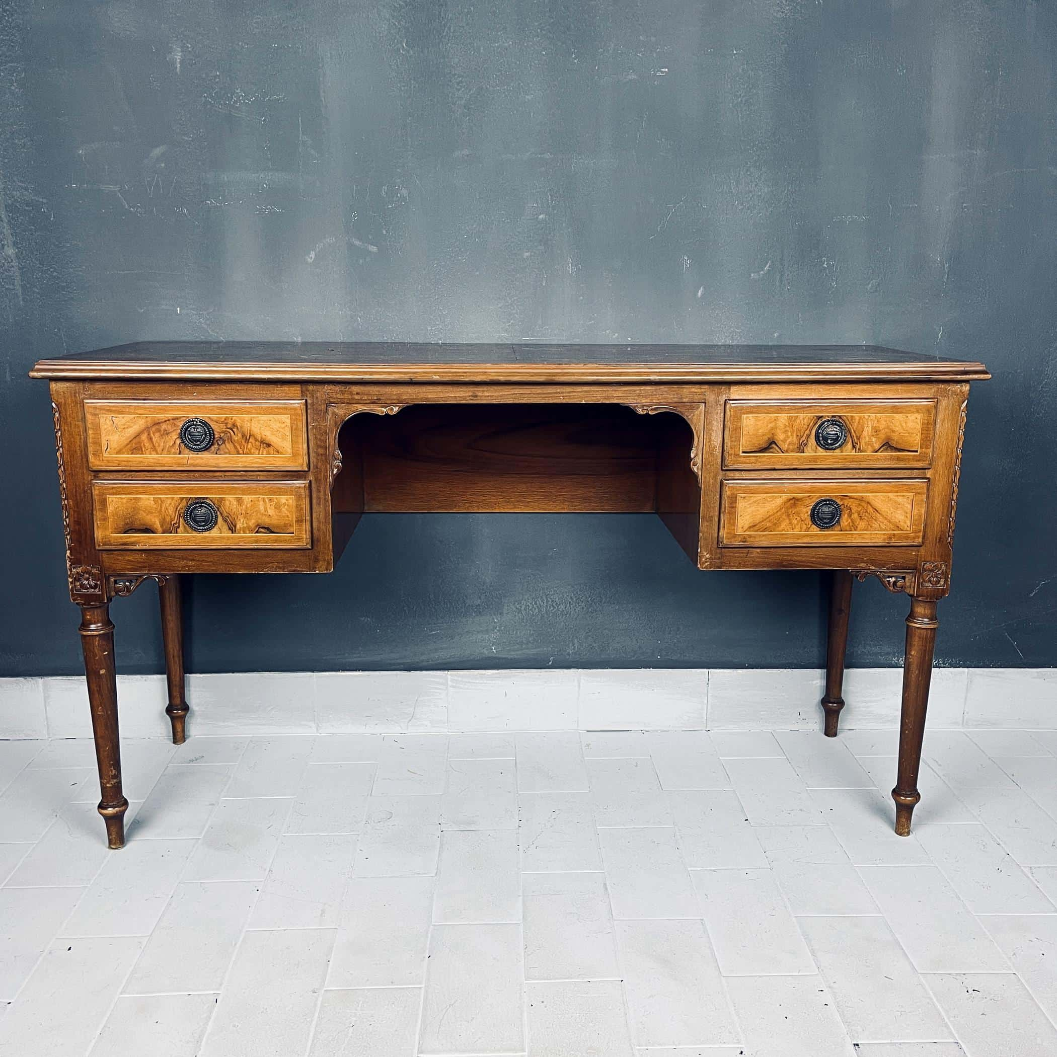 Vintage wood sideboard Italy 1950s venetian wooden console table