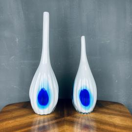 Pair of murano glass vases Italy 1990s White and blue vintage murano