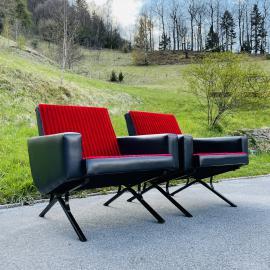 Set of 2 mid-century lounge armchairs Yugoslavia 1970s MCM furniture Retro home decor Original fabric