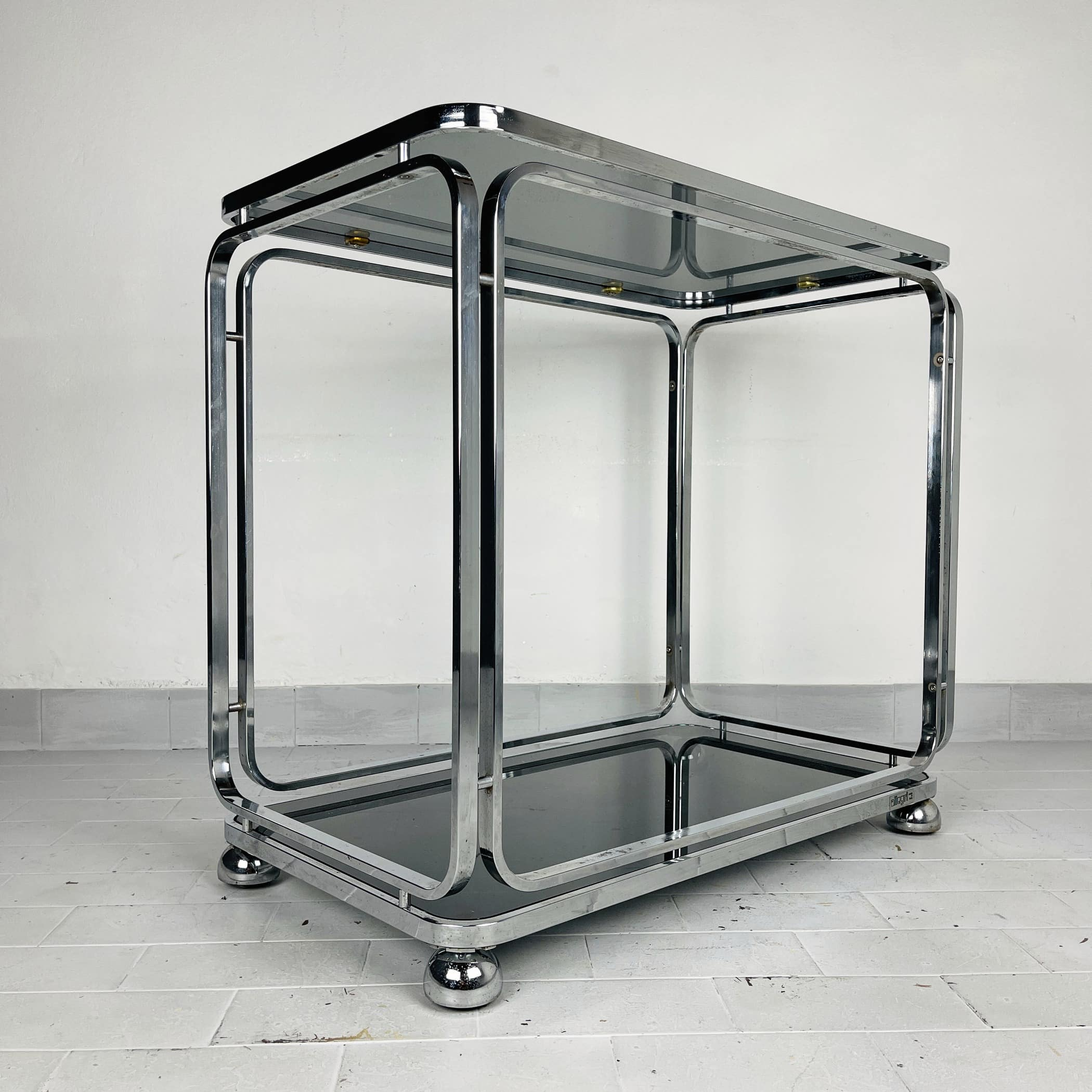 Mid-century large glass trolley by Allegri Arredamenti Italy 1970s Vintage italian coffee table