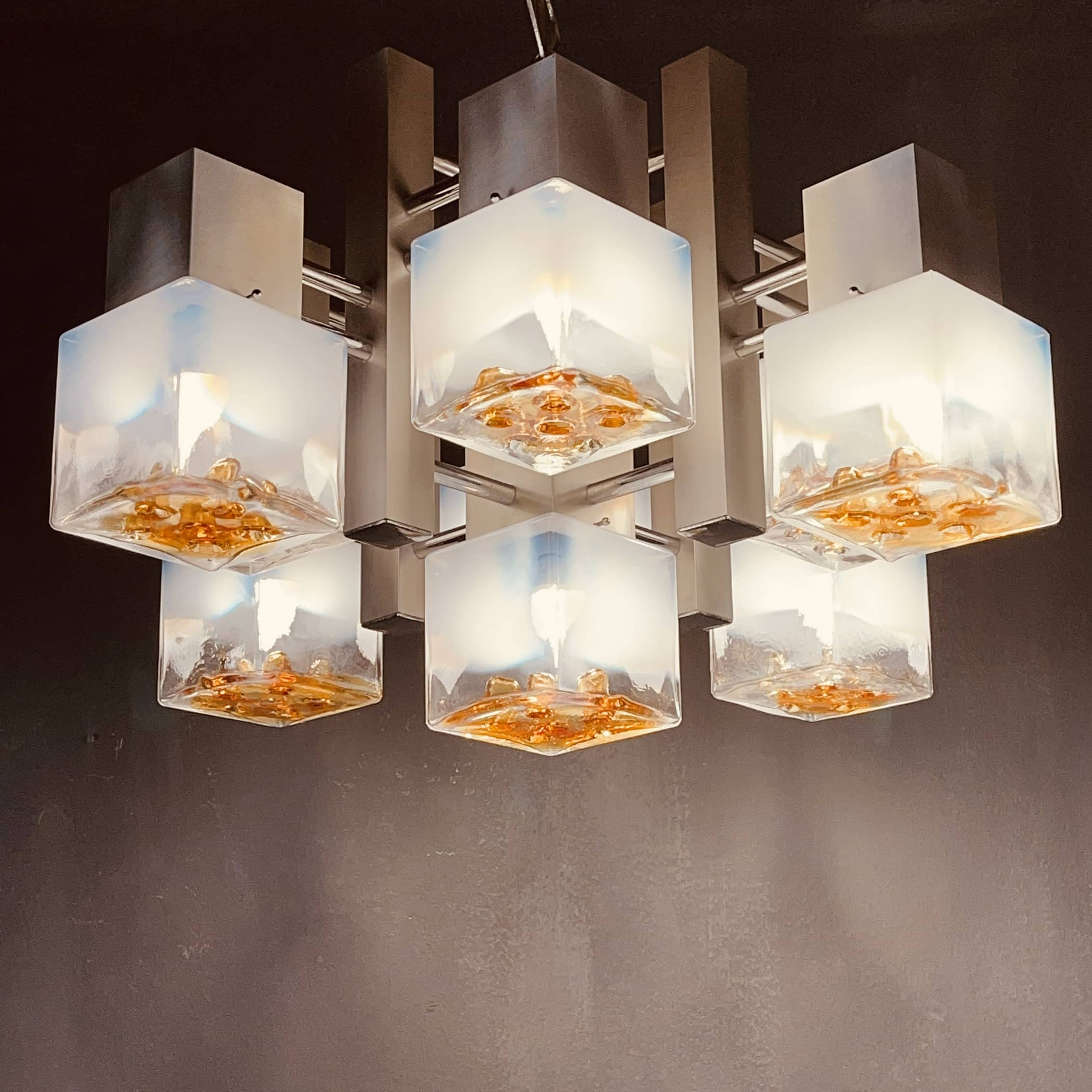 Cubic chandelier murano glass and chrome metal Mazzega Italy 1960s style by Gaetano Sciolari