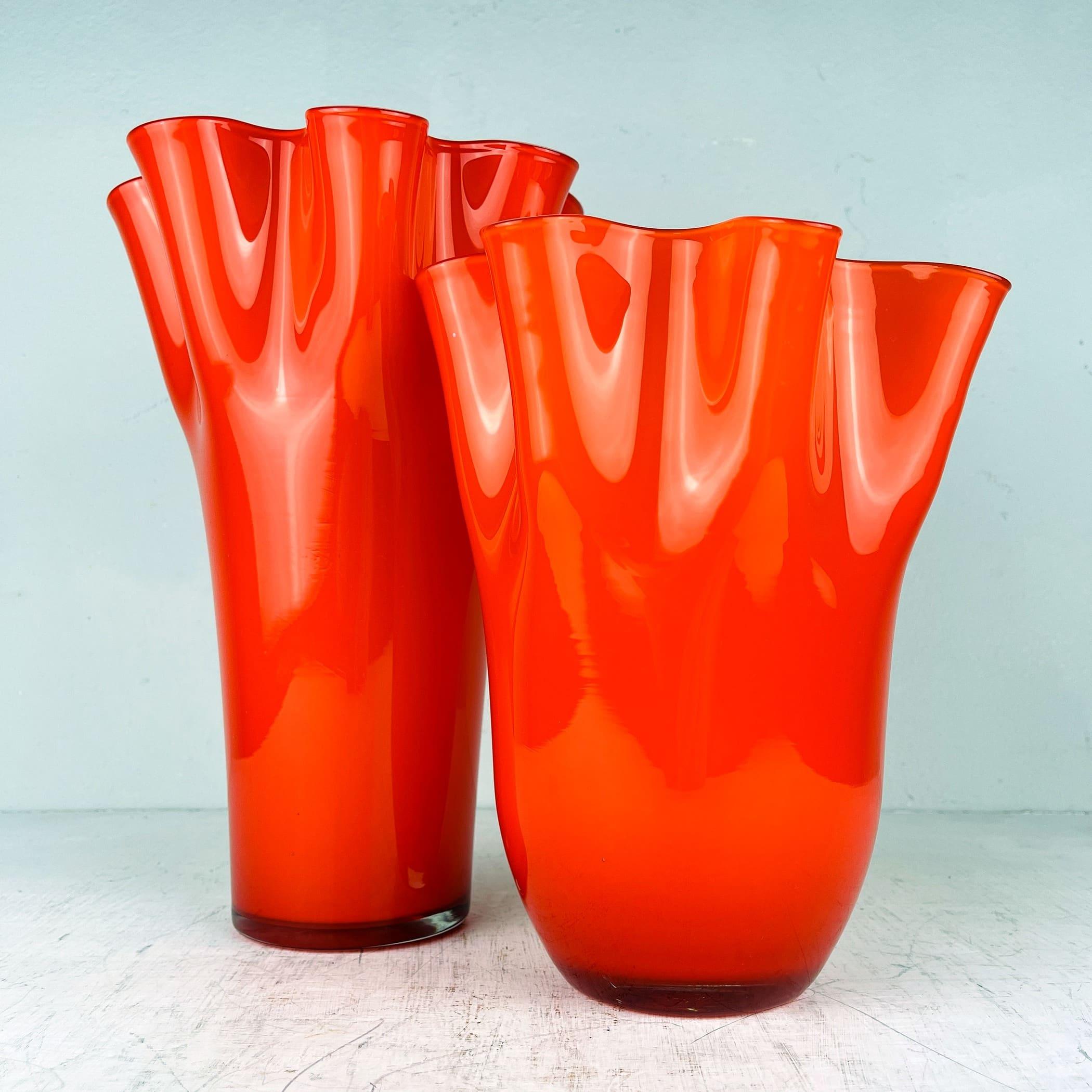 Pair of orange murano glass vases Fazzoletto Italy 1990s