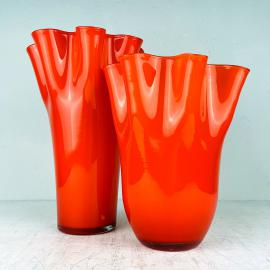 Pair of orange murano glass vases Fazzoletto Italy 1990s