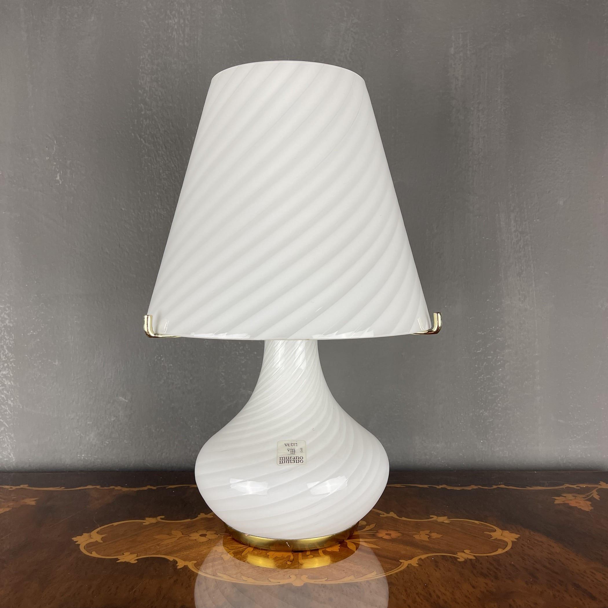 XL Murano Vetri swirl mushroom table lamp Italy 1970s