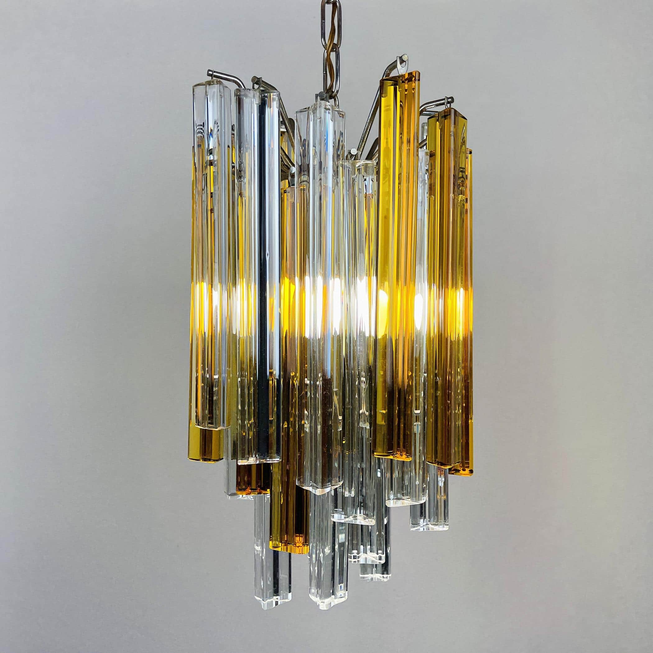 Vintage cascade Murano glass Crystal Prism Chandelier from Venini Italy 1960s