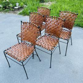 Set of 5 metal leather dining chairs Italy 1970s