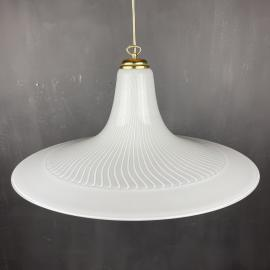 Vintage white swirl murano lamp Italy 1970s White Gold Mid-century Lighting Vintage chandelier