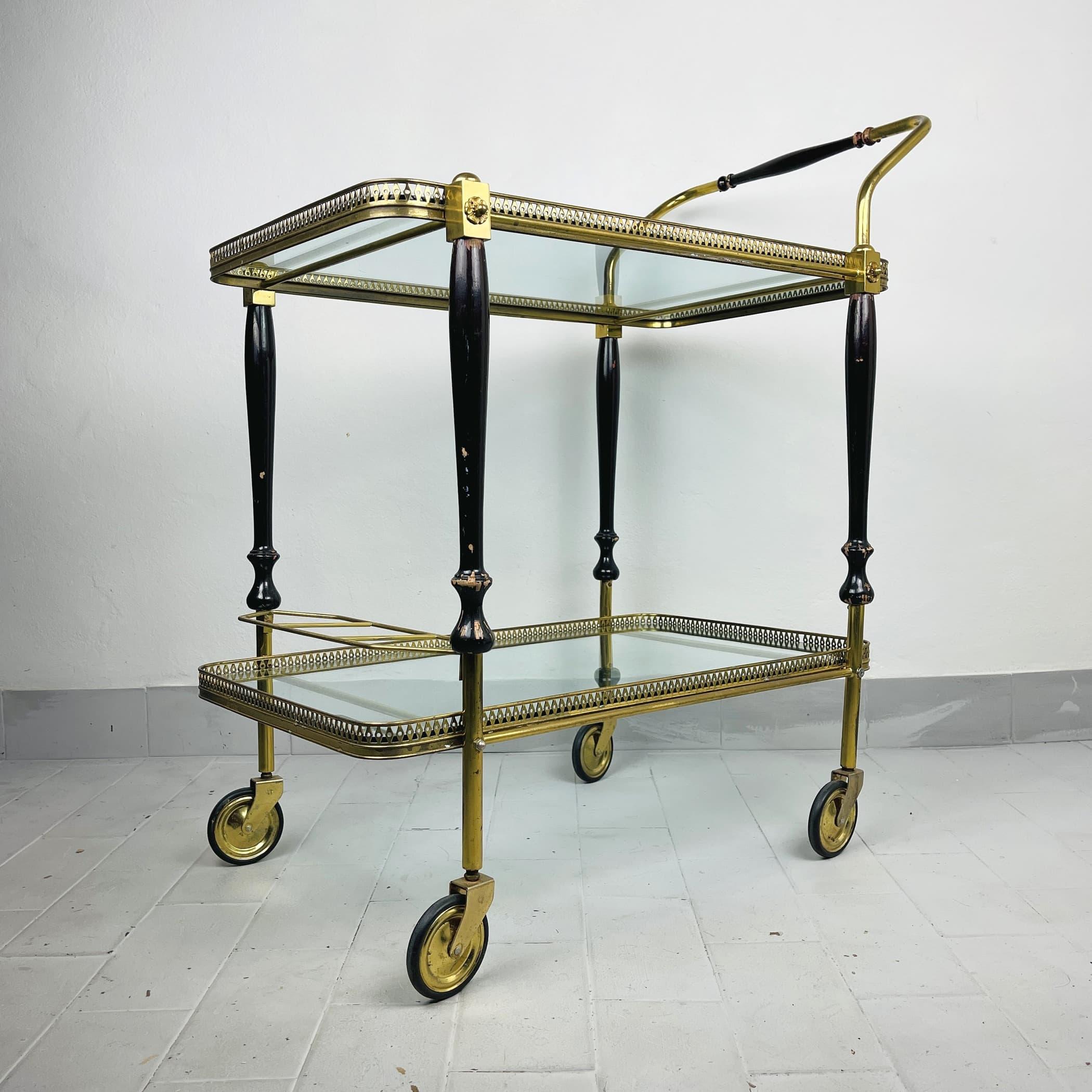 Vintage Serving Bar Cart S.W. Germany 1950s Retro trolley bar Brass Bar Wagon Drinks Trolley