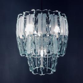 Mid-century art glass chandelier Zero quattro for Fontana Arte Italy 1960s